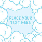 Cartoon pop art clouds frame vector white and blue background Stock Photo