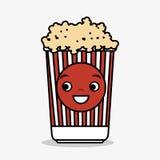 Cartoon pop corn basket icon Stock Images