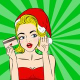 Cartoon pop of woman. With merry christmas on the green background Royalty Free Stock Image