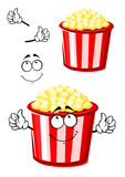 Cartoon popcorn character in striped bucket Royalty Free Stock Images