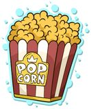 Cartoon popcorn in paper bucket box. Isolated on white background. Vector sticker. Cinema icon Royalty Free Stock Image