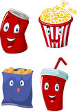 Cartoon Popcorn, soft drink, french fries and potato chips Stock Image