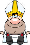 Cartoon Pope Sitting Royalty Free Stock Image