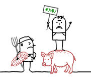 Cartoon porc producers protesting against agriculture business Royalty Free Stock Images