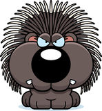 Cartoon Porcupine Angry. A cartoon illustration of a porcupine with an angry expression vector illustration