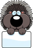Cartoon Porcupine Sign Royalty Free Stock Image
