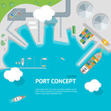 Cartoon Port Town and Barge Ship Concept Banner Card. Vector. Cartoon Port Town Concept Banner Card Barge Ship Loading Color Freight Containers on a Landscape Royalty Free Stock Photo