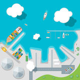 Cartoon Port Town and Barge Ship. Vector. Cartoon Port Town and Barge Ship Loading Color Freight Containers on a Landscape Flat Design Style Top View . Vector Stock Photography