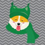 Cartoon portrait of a dog in a hat. Christmas cute dog. The symbol of the year. Vector illustration for a greeting card. stock illustration