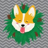 Cartoon portrait of a dog with a wreath. Christmas cute dog. The symbol of the year. Vector illustration for a greeting. Cartoon portrait of a dog with a wreath royalty free illustration