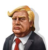 Cartoon Portrait of Donald Trump - Illustrated by Erkan Atay. January 18, Cartoon Portrait of Donald Trump With Shadow- Illustration of the American President Stock Images