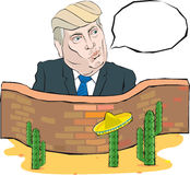 Cartoon Portrait of Donald Trump says something in front of a wall with Mexico Stock Images