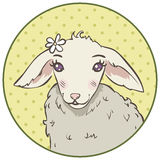 Cartoon portrait of lamb. In a round frame Royalty Free Stock Photography
