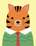 A cartoon portrait of a tiger in a sweater. Stylized tiger in a tie. Art for children. Vector illustration of an animal Royalty Free Stock Photos