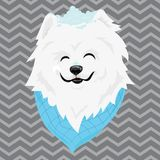 A cartoon portrait of a white dog with snow on his head. Happy dog head. Symbol of the new year. Vector illustration for royalty free illustration