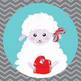 Cartoon portrait of a white sheep with a christmas present. A happy sheep. Vector illustration for children. stock illustration