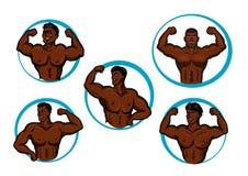 Cartoon posing bodybuilders and athletes Stock Photo