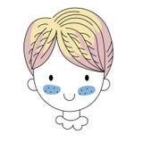 Cartoon positive cute girl doodle. Cartoon positive sweet cute colored doodle girl Stock Photo