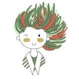Cartoon positive cute girl doodle. Cartoon positive sweet cute colored doodle girl Stock Photos
