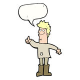Cartoon positive thinking man in rags with speech bubble Royalty Free Stock Images