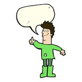 cartoon positive thinking man in rags with speech bubble Stock Images