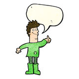 Cartoon positive thinking man in rags with speech bubble Royalty Free Stock Photos
