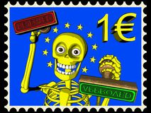 Cartoon of postage stamp 1 EURO, bureaucracy in EU Stock Image