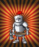 Cartoon postcard knight. Royal steel crusader armor on glittering red lights royalty free illustration