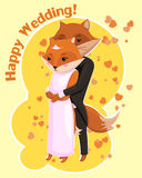Cartoon postcard for Wedding with cute foxes Royalty Free Stock Image