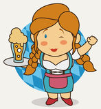 Cartoon Poster with Cute Bavarian Waitress, Vector Illustration Royalty Free Stock Image