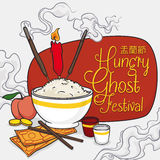 Cartoon Poster with Offerings to the Ancestors in Ghost Festival, Vector Illustration Royalty Free Stock Photography