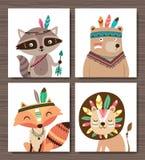 Cartoon poster. Set of cartoon woodland animals. Raccoon, bear, fox and lion royalty free illustration