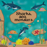 Cartoon poster with sharks and place for your text. Royalty Free Stock Images