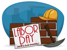Cartoon Poster with a Sign Over a Wall to Celebrate Labor Day, Vector Illustration stock illustration