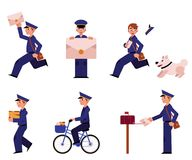 Vector cartoon postman mailman character set. Cartoon postman cheerful character set. Delivery service worker, mailman standing running bicycling smiling holding Royalty Free Stock Image