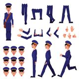 Vector postman creation animation set. Cartoon postman creation set. Male character in professional uniform in various poses, gestures facial expressions Royalty Free Stock Image