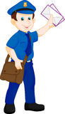 Cartoon postman holding mail and bag Royalty Free Stock Images
