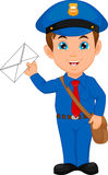 Cartoon postman holding a mail Royalty Free Stock Photo