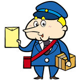 Cartoon Postman with Letter and Package Royalty Free Stock Photos