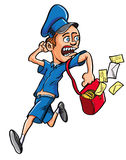 Cartoon postman running. Fun cartoon illustration of a male postman in uniform running with letters flying out of his satchel and looking over his shoulder with Royalty Free Stock Images