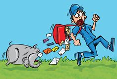 Cartoon postman running away from a dog. He is dropping his letters Royalty Free Stock Photography