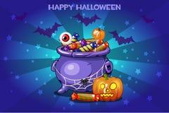 Cartoon pot with candy, set Illustration Happy Halloween Stock Photos