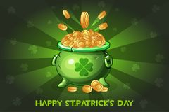 Cartoon pot with coin. Illustration Happy St.Patrick`s Day Stock Photo