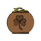 Cartoon pot full coins shamrock decoration celebration st patrick day Royalty Free Stock Photography