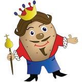 Cartoon potato king in the crown stock illustration