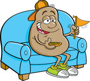 Cartoon potato sitting on a couch and holding a pennant. Stock Image