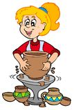 Cartoon Pottery Girl Royalty Free Stock Photography
