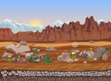 Cartoon prairie dry stone desert landscape with cactus, mountains, rocks and sand. Royalty Free Stock Photography