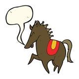 Cartoon prancing horse with speech bubble Stock Photos
