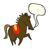 Cartoon prancing horse with speech bubble Stock Photo